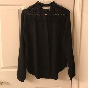 Abercrombie & Fitch Black Crochet Accent Blouse